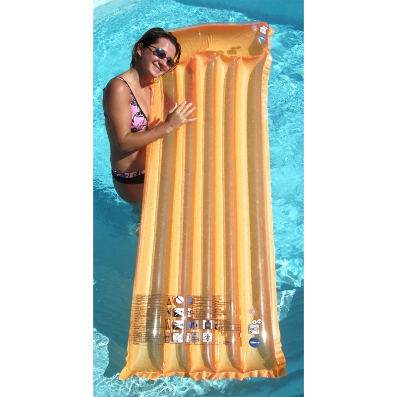 Matelas gonflable transparent avec gros oreiller - Matelas de plage gonflable ...