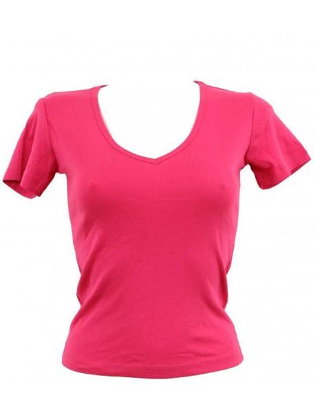 T-shirt femme fuchsia col style en V