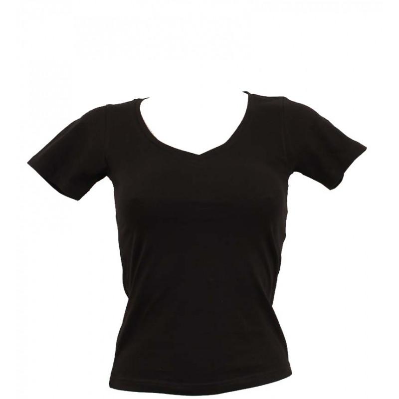 t shirt femme noir col en v. Black Bedroom Furniture Sets. Home Design Ideas