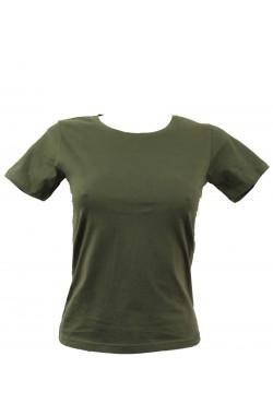 T-shirt femme kaki col rond