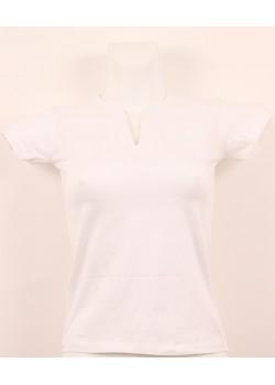 T-shirt femme blanc col grand V
