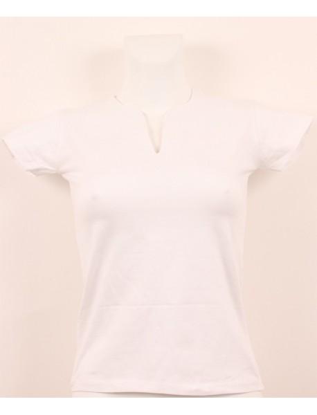 T-shirt femme blanc grand col V