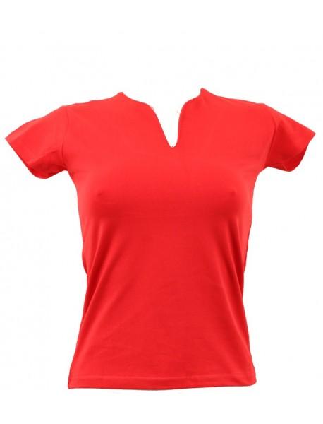 T-shirt femme rouge grand col V
