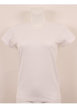 T-shirt femme blanc col court V