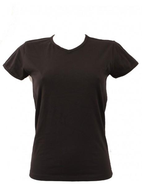 T-shirt femme noir col court V
