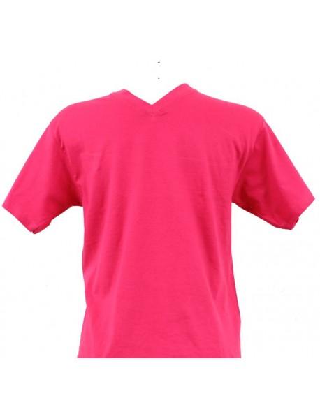 T-shirt homme fuchsia col V