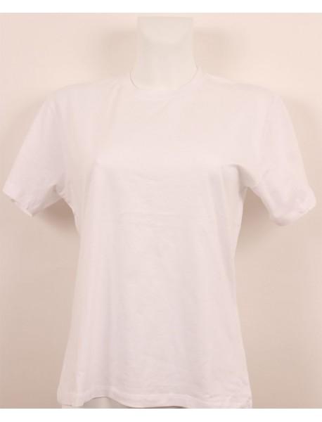 T-shirt femme blanc col style en rond