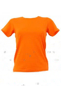T-shirt femme orange col rond