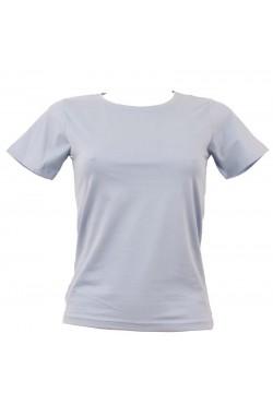 T-shirt femme bleu ciel col rond