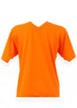 T-shirt homme orange col V