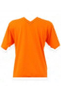 T-shirt homme orange col V
