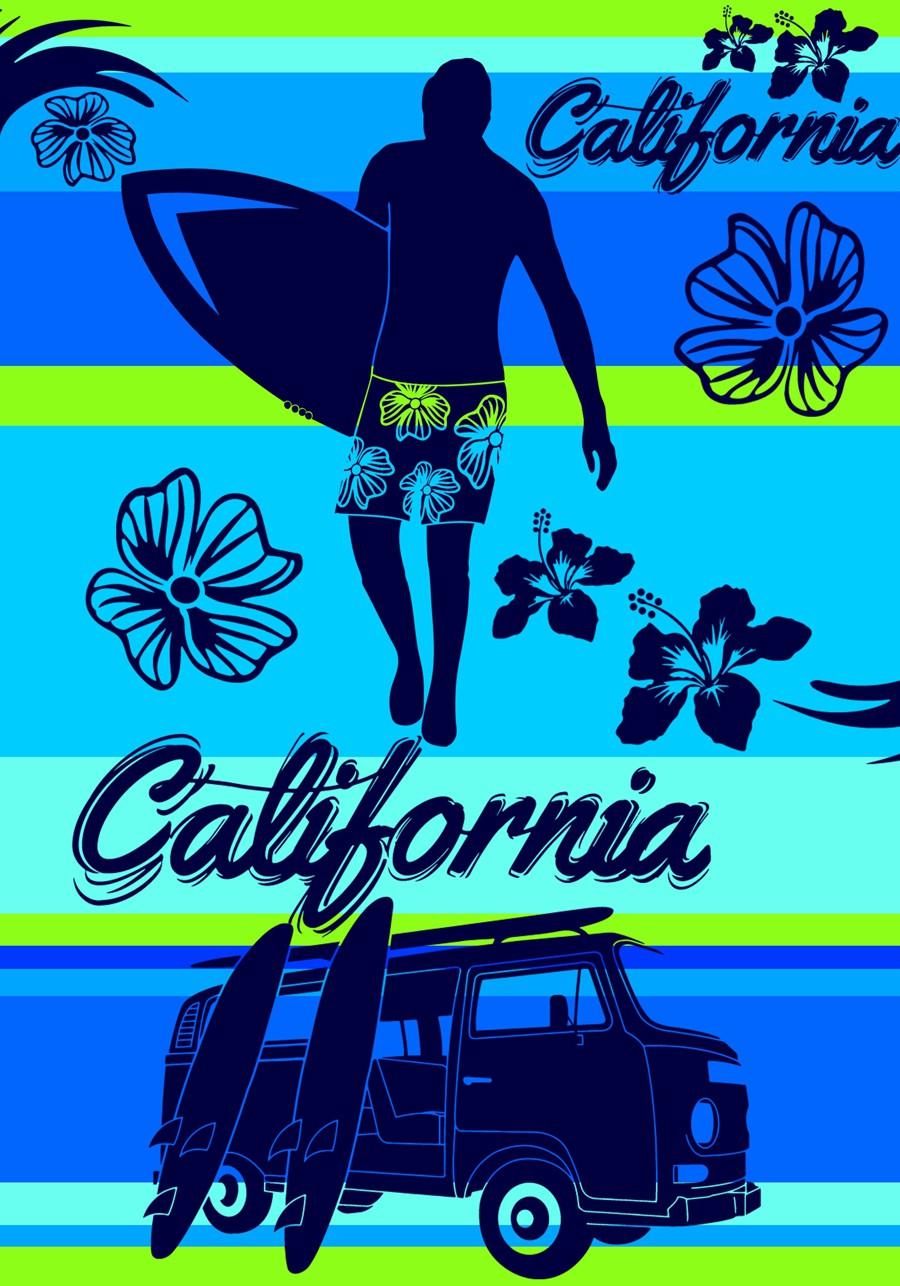 Serviette De Plage Dimension.Drap De Plage Taille Xl California Blue