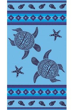 Serviette de plage turquoise Mosaic Turtle