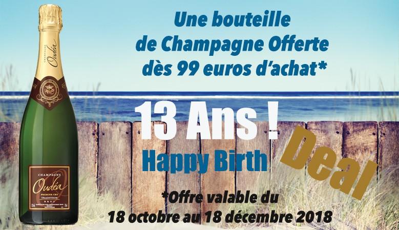 Une bouteille de champagne offerte dès 99€ d'achat*